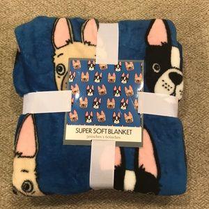 NWT French Bulldog Frenchie throw blanket adorable